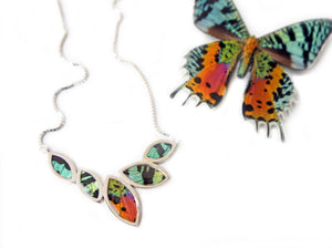 Real Butterfly Sterling Silver Necklace - Sunset Moth Marquis