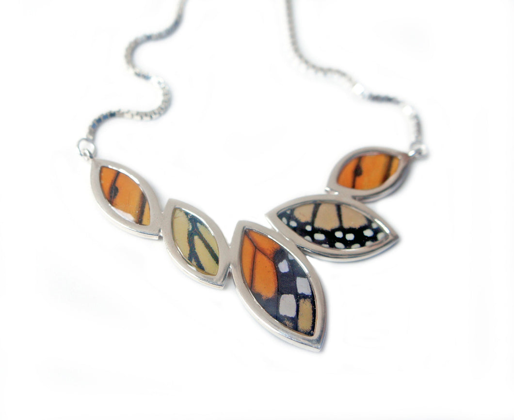 Real Butterfly Wing Sterling Silver Marquis Necklace - Monarch - Anniversary, Gift, Special Occasion