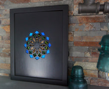 Load image into Gallery viewer, 11x14 Real Butterfly Wing Pattern in Kaleidoscope Window -Green, Owl Eye, Blue Morpho in Black