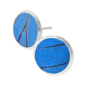 Blue Butterfly Wing Post Earrings - Blue Morpho