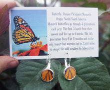 Load image into Gallery viewer, Real Monarch Butterfly Wing Drop Post Earrings - Butterfly Jewelry, Gifts For Her, Butterfly Wings, Small Jewelry