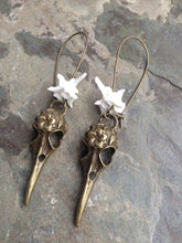 Load image into Gallery viewer, Snake Vertebrae Skull Earrings - Taxidermy Jewelry, Oddities Jewelry, Goth Style, Curiosities