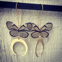 Load image into Gallery viewer, Clear wing butterfly earrings with crescent dangles
