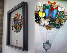 Load image into Gallery viewer, 11x14 or 16x20 Real Butterfly Hot Air Balloon Zeppelin Framed Art