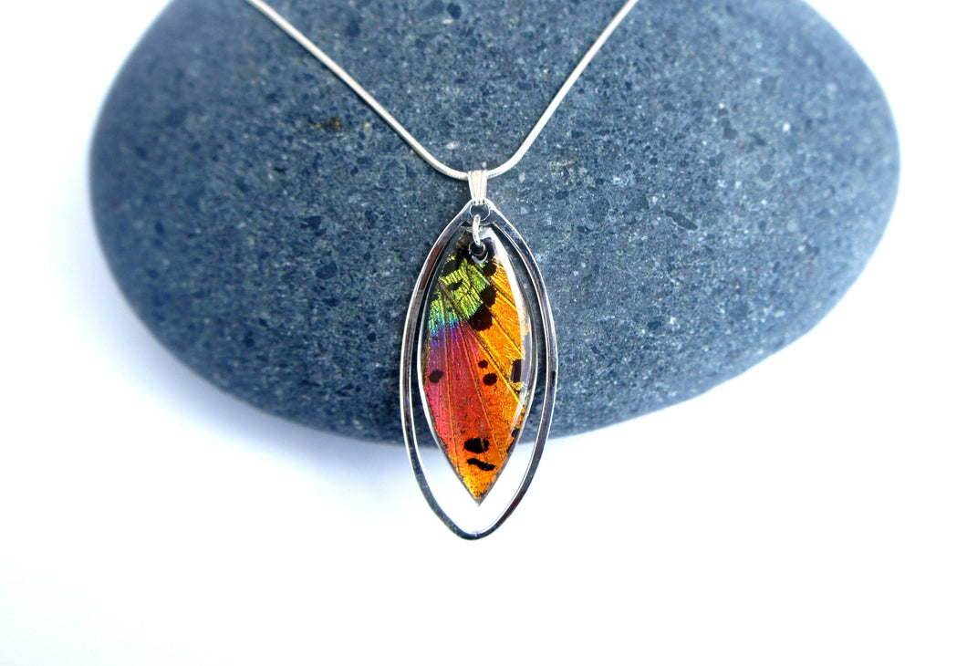 Sunset Moth Wing Necklace in Sterling Silver - Rainbow Sunset Moth - Nature Art, Butterfly Wing Jewelry