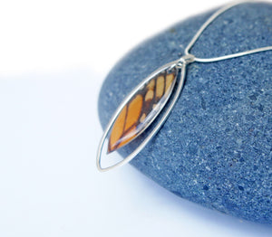 Monarch Butterfly Wing Necklace in Sterling Silver - Monarch Forewing