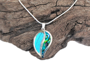 Blue Butterfly and Shell in Sterling Silver Necklace Pendant