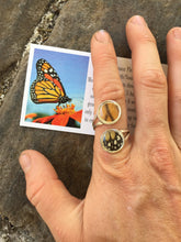 Load image into Gallery viewer, Real Butterfly Wing Double Pendant Ring - Silver Monarch Ring