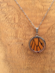 Monarch Butterfly Wing Circle Pendant Necklace - Monarch Hindwing