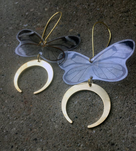 Clear wing butterfly earrings with crescent dangles