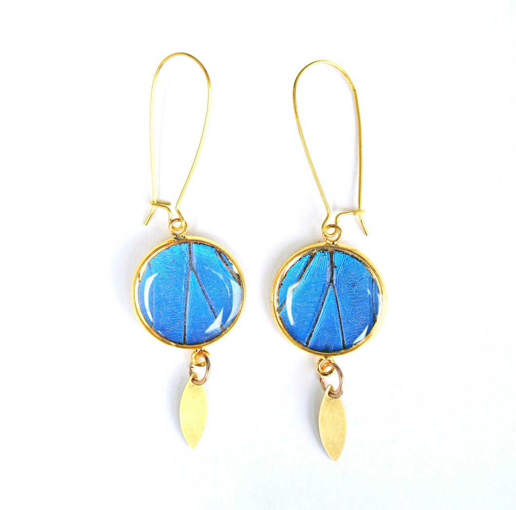 Blue Morpho Gold-Plated Pendant Butterfly Earrings