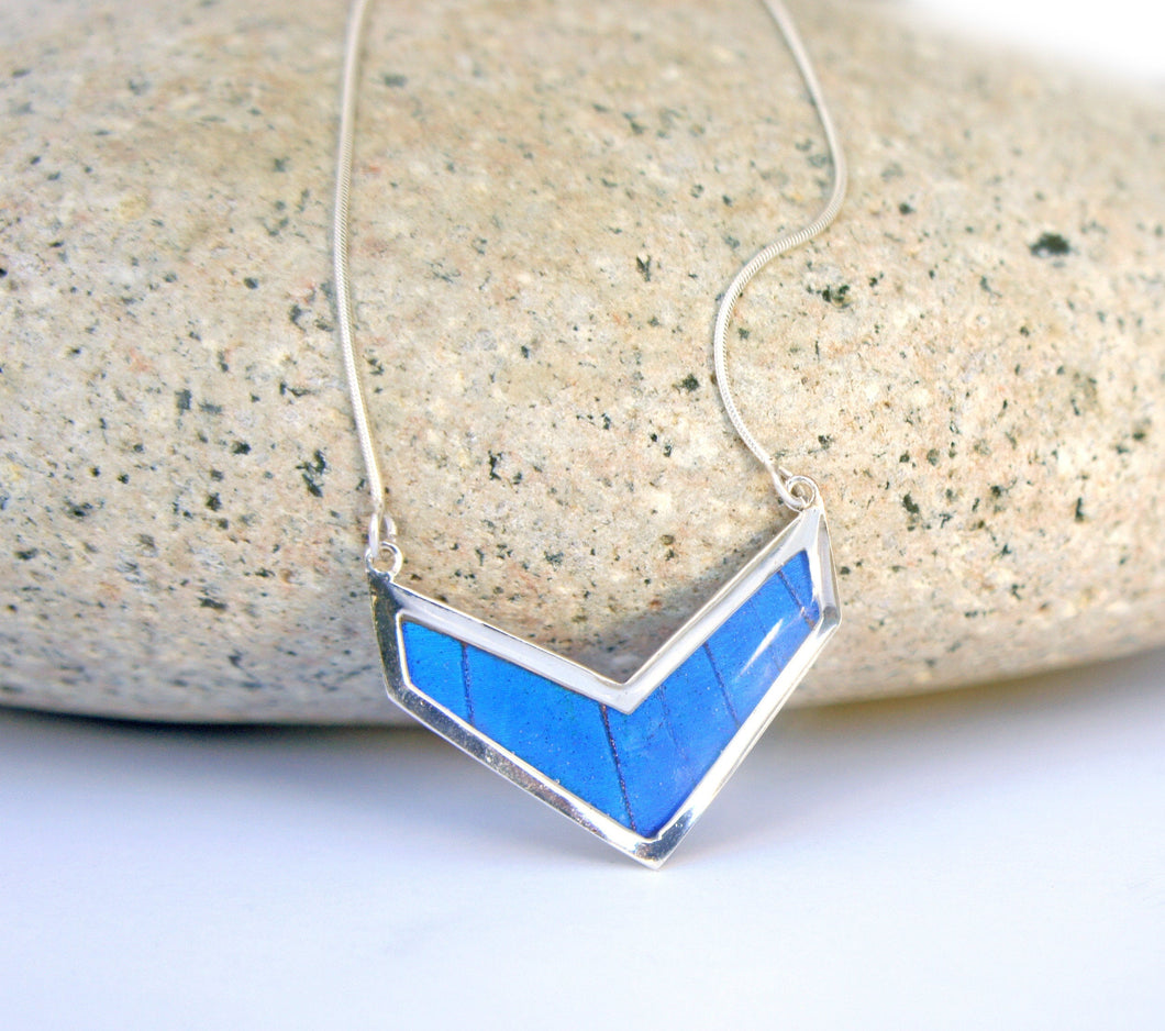 Butterfly Wing Necklace Pendant Jewelry - Blue Morpho Chevron