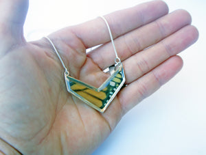 Butterfly Wing Necklace Pendant Jewelry - Monarch Chevron