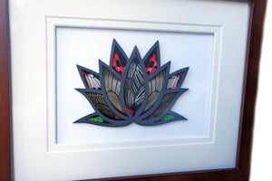 Real Preserved Butterfly Wings In Modern Art - Lotus Flower - Butterfly Framed Art, Butterfly Decor, Framed Butterfly, Real Butterfly