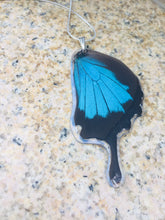 Load image into Gallery viewer, Recycled Butterfly Wing Necklace - Papilio Ulysses Hindwing - Butterfly Gift, Nature Theme Jewelry
