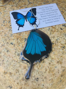 Recycled Butterfly Wing Necklace - Papilio Ulysses Hindwing - Butterfly Gift, Nature Theme Jewelry