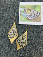 Load image into Gallery viewer, Recycled butterfly wing drop kite pendant earrings - Rice Paper - dangle, gold, shiny, lightweight, modern jewelry