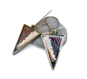 Butterfly Wing Triangle Earrings - Charaxes Brutus