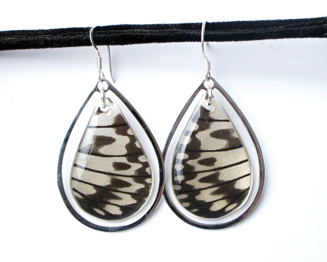 Real Butterfly Wing Sterling Silver Earrings - Rice Paper Butterfly