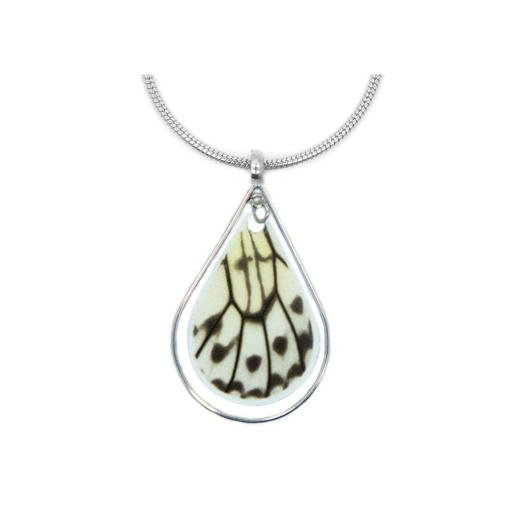 Butterfly Wing Necklace in Sterling Silver - Rice Paper Teardrop