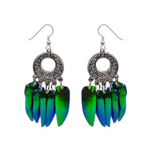 Load image into Gallery viewer, Real Beetle Wing Chandelier Earrings