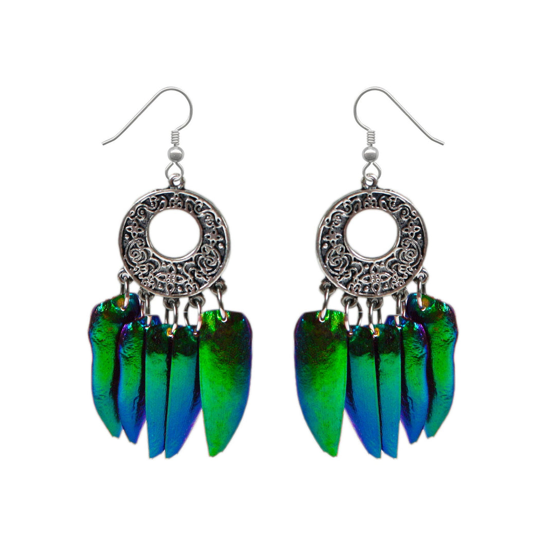 Real Beetle Wing Chandelier Earrings