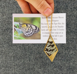 Recycled Butterfly Wing Necklace Pendant Jewelry - Rice Paper - Butterflies, Unique, Colorful, Nature Art