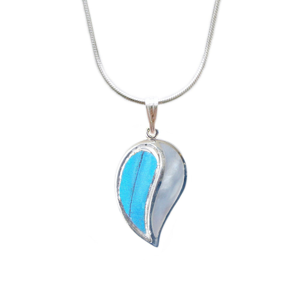 Real Blue Morpho Butterfly Wing Necklace with Pearl Shell in Sterling Silver