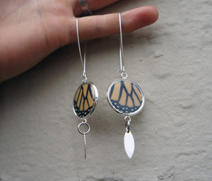 Recycled Monarch Butterfly Wing Earrings - Silver-Plated Pendant Earrings With Dangle Marquis Charm - Butterfly Gift, Nature Theme Jewelry