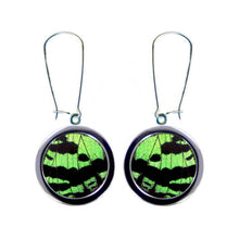 Load image into Gallery viewer, Recycled Butterfly Wing Circle Stainless Steel Pendant Earrings - Green Sunset Moth Forewing - Nature Art, Nature Jewelry, Butterflies