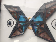 Load image into Gallery viewer, 8x10 Real butterfly wing artwork - Atlas and Morpho in Abstract Butterfly Butterfly