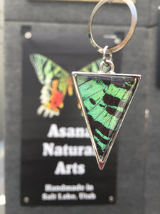 Extra Long Chain Butterfly Wing Necklace - Green Sunset Moth