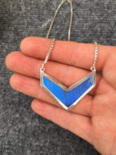 Load image into Gallery viewer, Butterfly Wing Necklace Pendant Jewelry - Blue Morpho Chevron