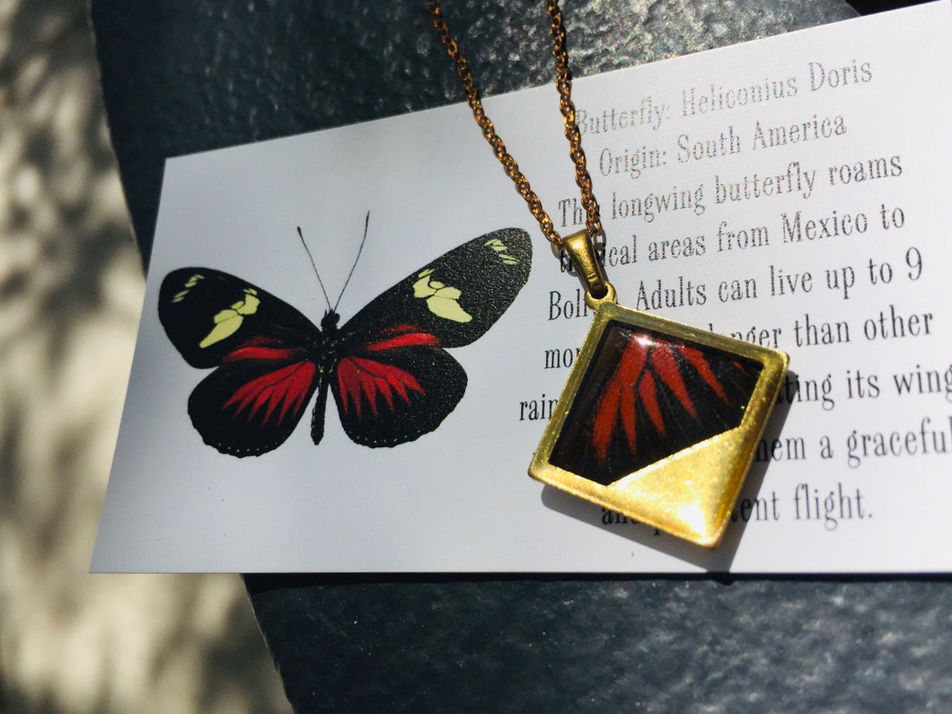 Red Butterfly Wing Necklace Pendant Jewelry - Heliconius Doris - Butterflies, Unique, Colorful, Nature Art, Modern Jewelry