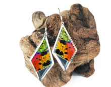 Load image into Gallery viewer, Recycled Butterfly Wing Kite Pendant Earrings - Rainbow Sunset Moth - Nature Art, Nature Jewelry, Butterflies