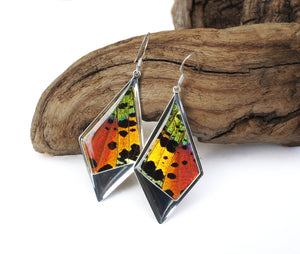 Recycled Butterfly Wing Kite Pendant Earrings - Rainbow Sunset Moth - Nature Art, Nature Jewelry, Butterflies