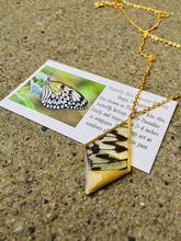 Load image into Gallery viewer, Recycled Butterfly Wing Necklace Pendant Jewelry - Rice Paper - Butterflies, Unique, Colorful, Nature Art