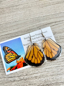 Real Butterfly Wing Earrings - Monarch Hindwing