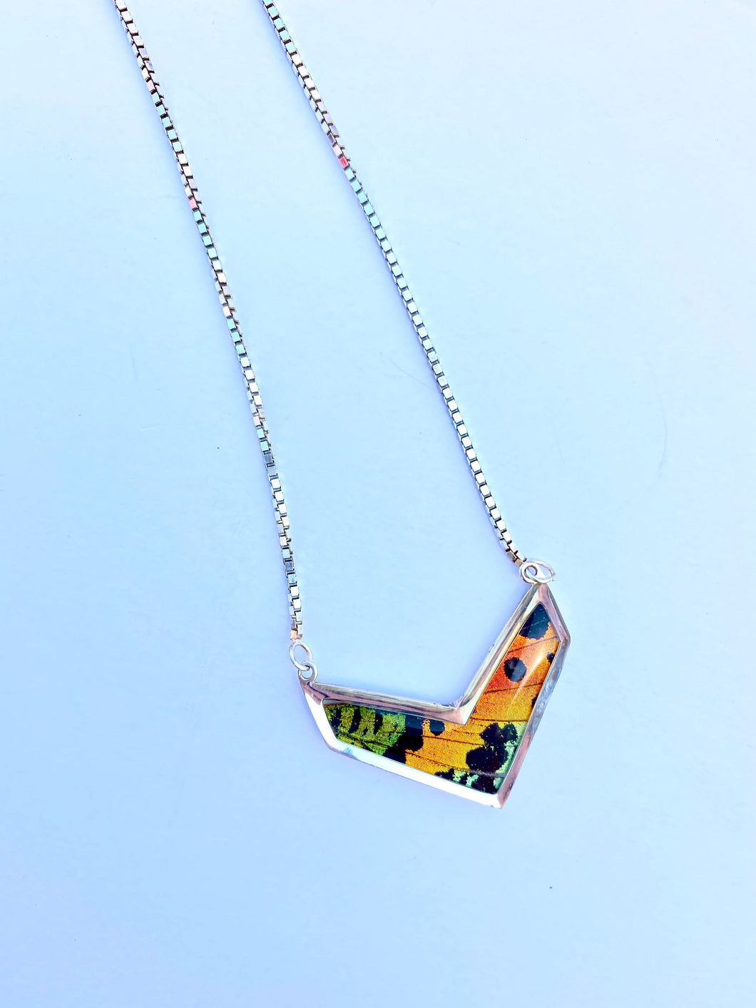 Butterfly Wing Necklace Pendant Jewelry - Rainbow Sunset Moth Chevron