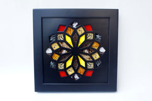 8x8 Real Butterfly Wing Pattern in Kaleidoscope Window- Black, Yellow, Red, Monarch in Black