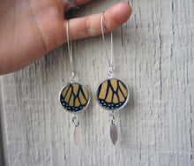 Load image into Gallery viewer, Recycled Monarch Butterfly Wing Earrings - Silver-Plated Pendant Earrings With Dangle Marquis Charm - Butterfly Gift, Nature Theme Jewelry