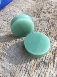 "1"" Double Flared Jade Stone Plugs Circle Shape"