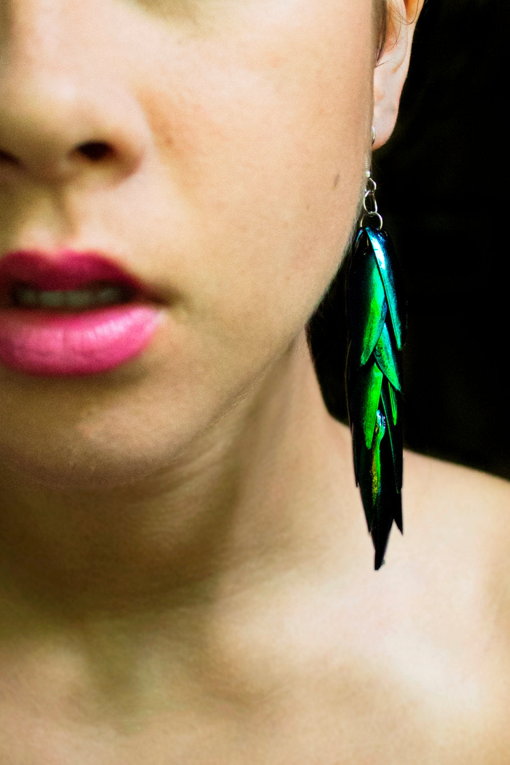 Real Beetle Wing Earrings - (3.5