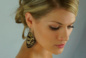 Real butterfly wing earrings - Rice Paper Forewing