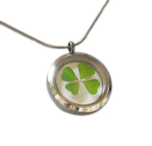 Real Four Leaf Clover Pendant Necklace