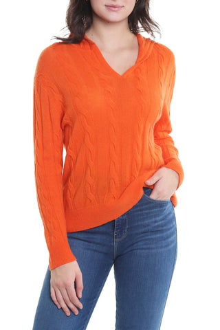 The Best Cashmere Cable Hoodie in Orange -