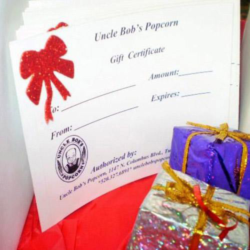 Gift Certificates - Uncle Bob's Popcorn