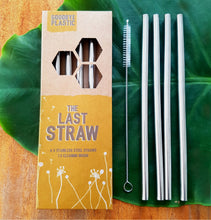Load image into Gallery viewer, Metal Straws - set of Four + Brush