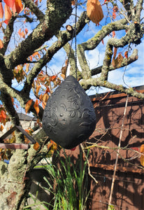 Black ceramic Bird Feeder