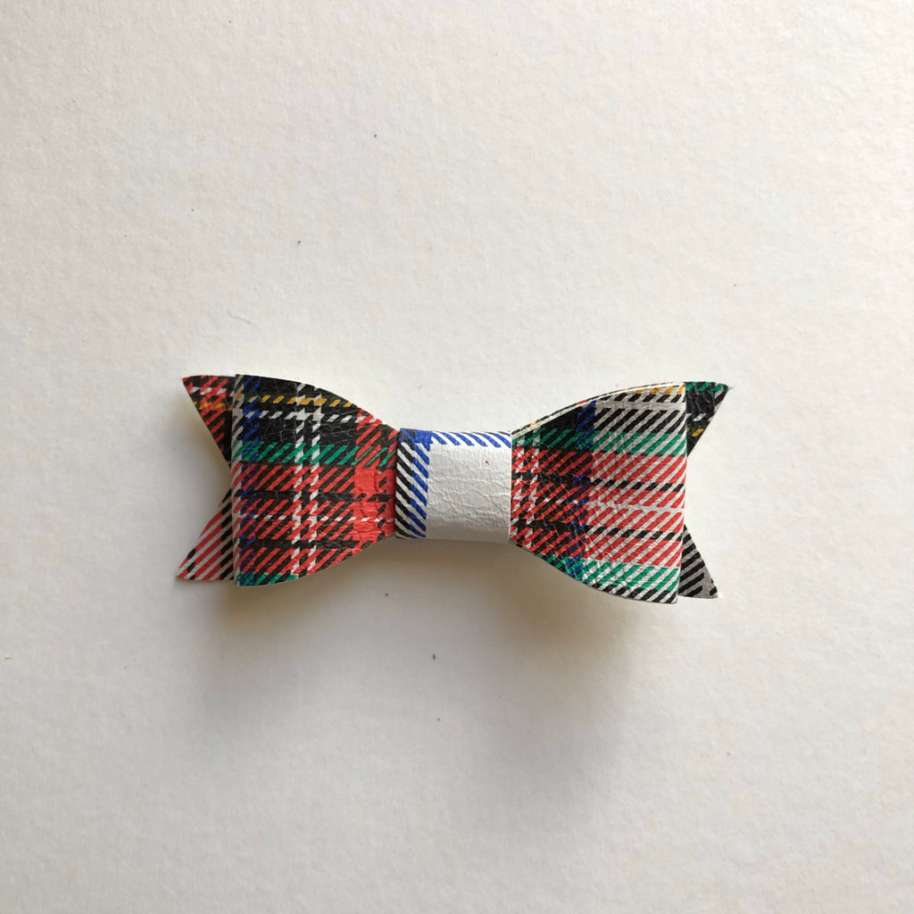 Holiday Plaid Leather Bow